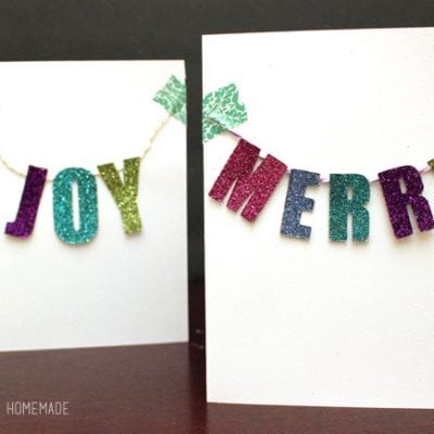 Glittered Chipboard Banner Christmas Cards