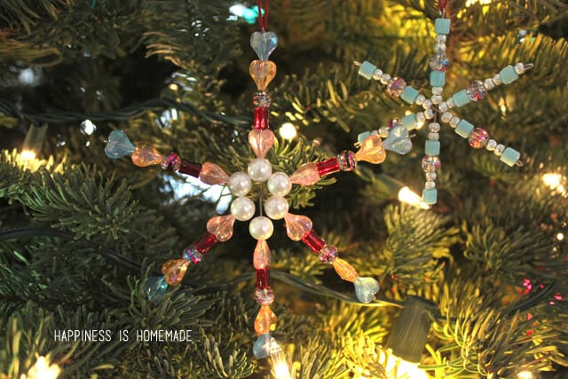 Kids Christmas Craft - Beaded Snowflake Ornaments