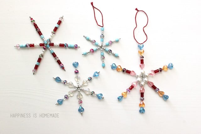 Kids Christmas Holiday Craft - Beaded Snowflake Ornaments