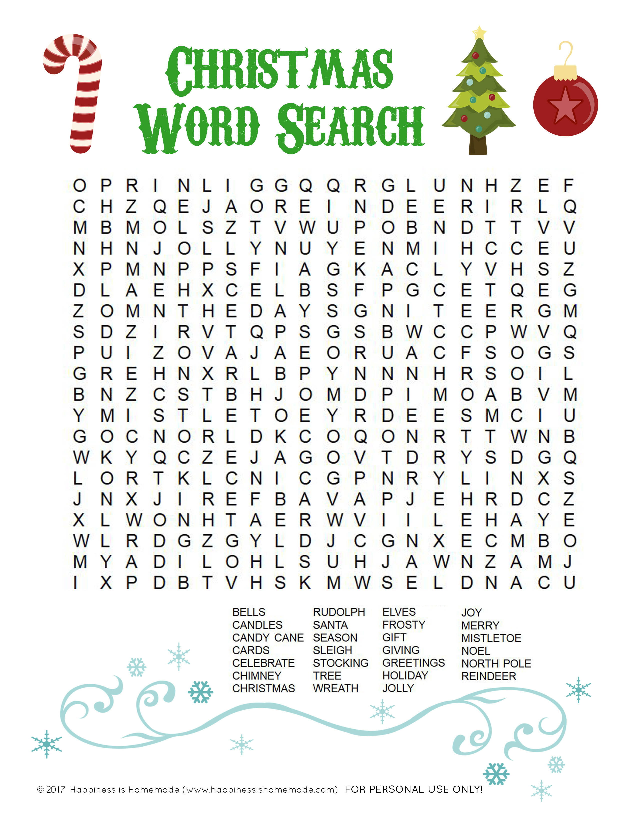 Printable Christmas Word Search For Kids Adults Happiness Is