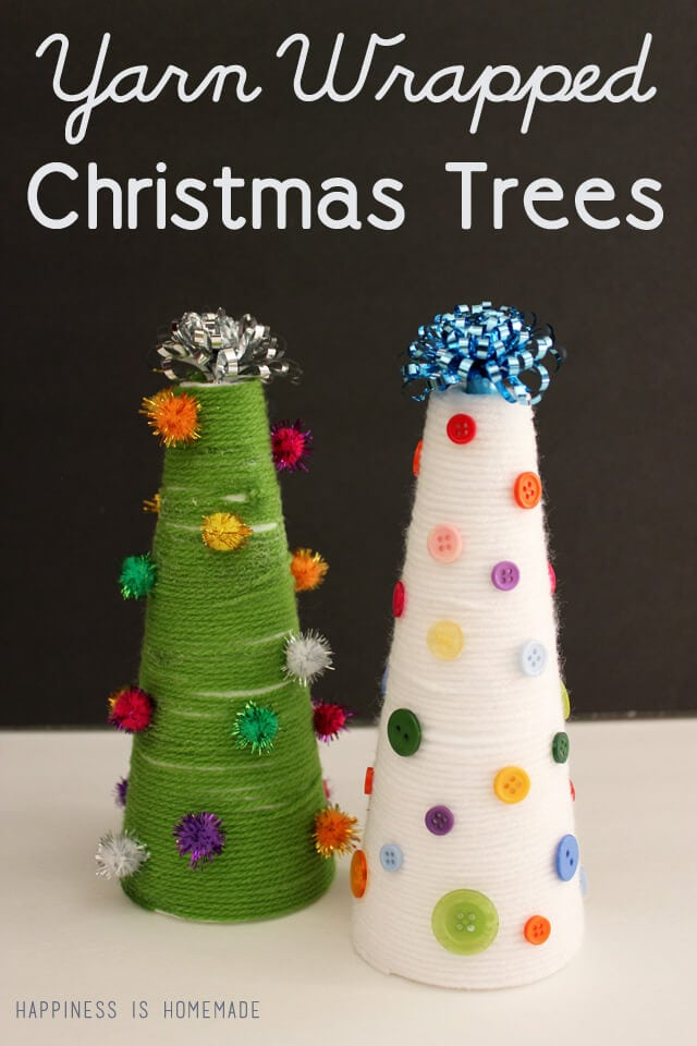 Yarn Wrapped Christmas Trees with Buttons and Pom Poms