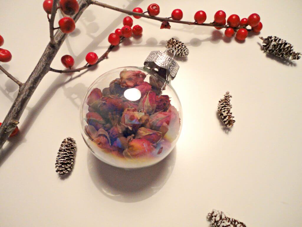 glass ornament rose tea