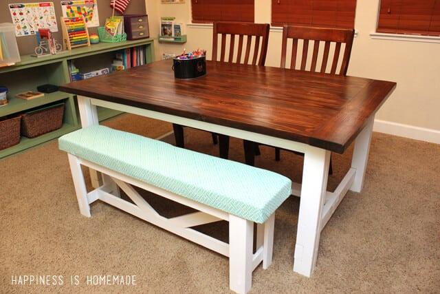 Diy farmhouse table bench happiness is homemade build it yourself farmhouse dining table solutioingenieria Choice Image