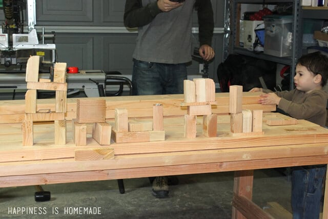 Building with Leftover Wood Blocks