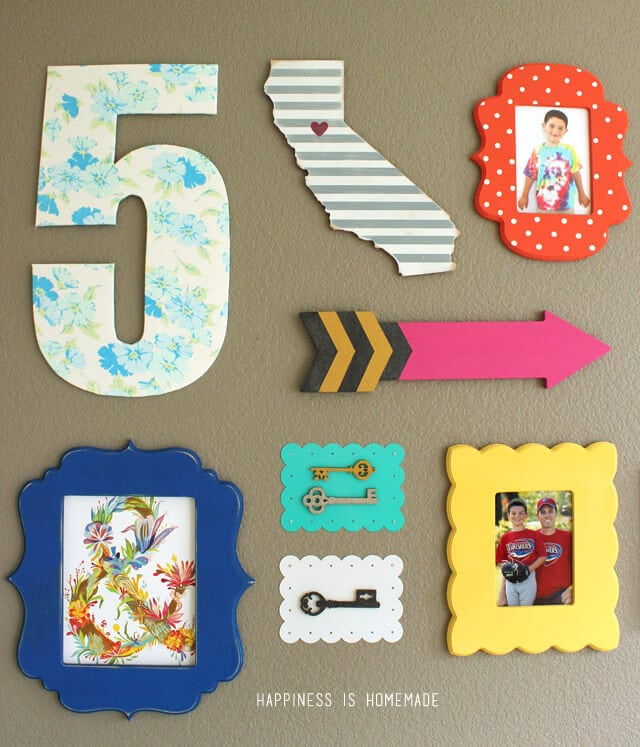 Colorful Gallery Wall and Vintage Sheet Number Five