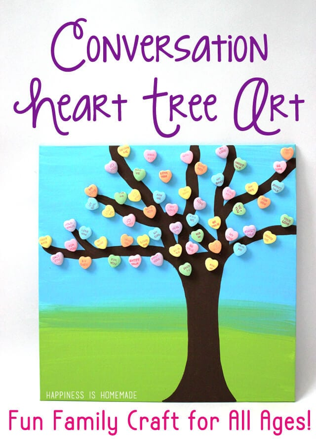 Conversation Heart Tree Art - Fun Family Valentine's Day Craft