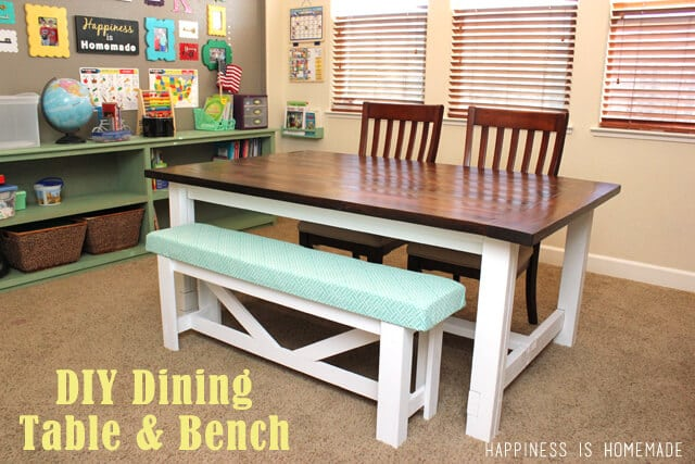 Good DIY Farmhouse Dining Table And Bench Set