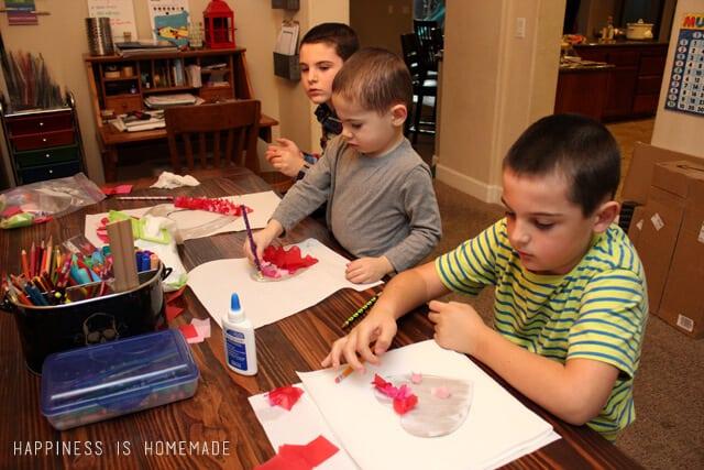 Kids Making a Valentine Craft