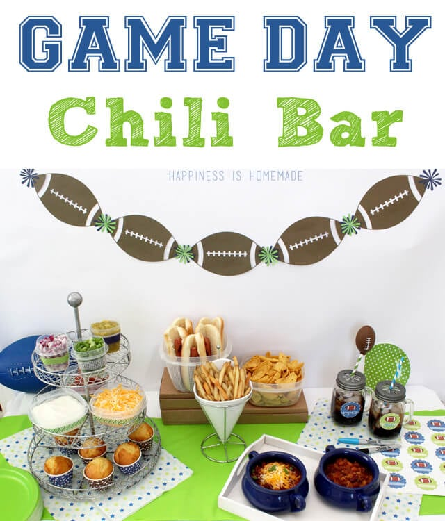Super Bowl Game Day Chili Bar - Happiness is Homemade