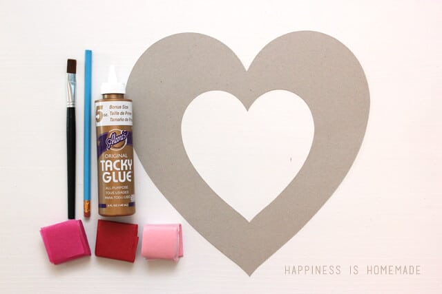 Supplies for Making a Tissue Paper Heart Wreath