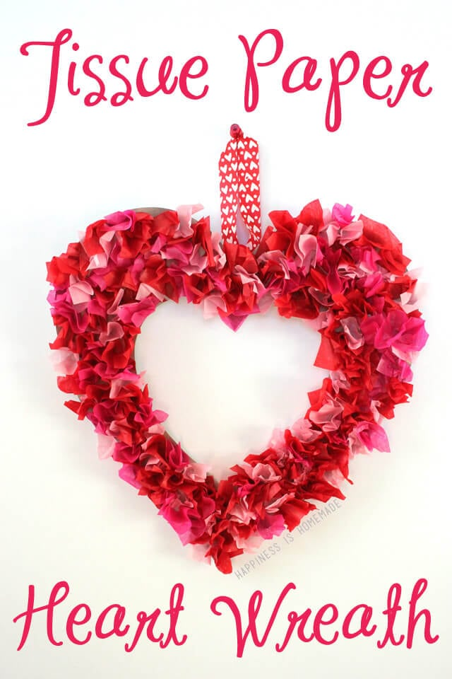 Tissue Paper Heart Wreath Valentine's Day Kids Craft