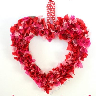 Valentine's Kids Craft: Tissue Paper Heart Wreath