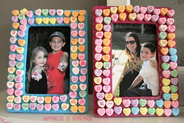 valentines day kids craft conversation heart picture frames