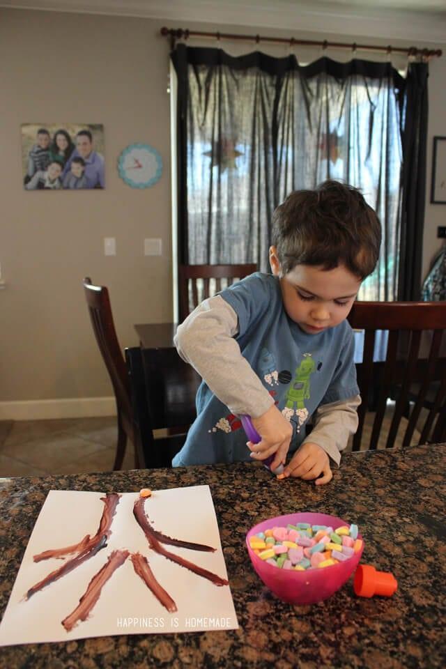 Valentine's Kids Craft - Conversation Heart Tree Art