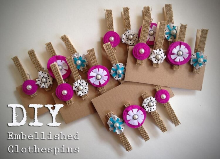 Diy Embellished Clothespins Happiness Is Homemade