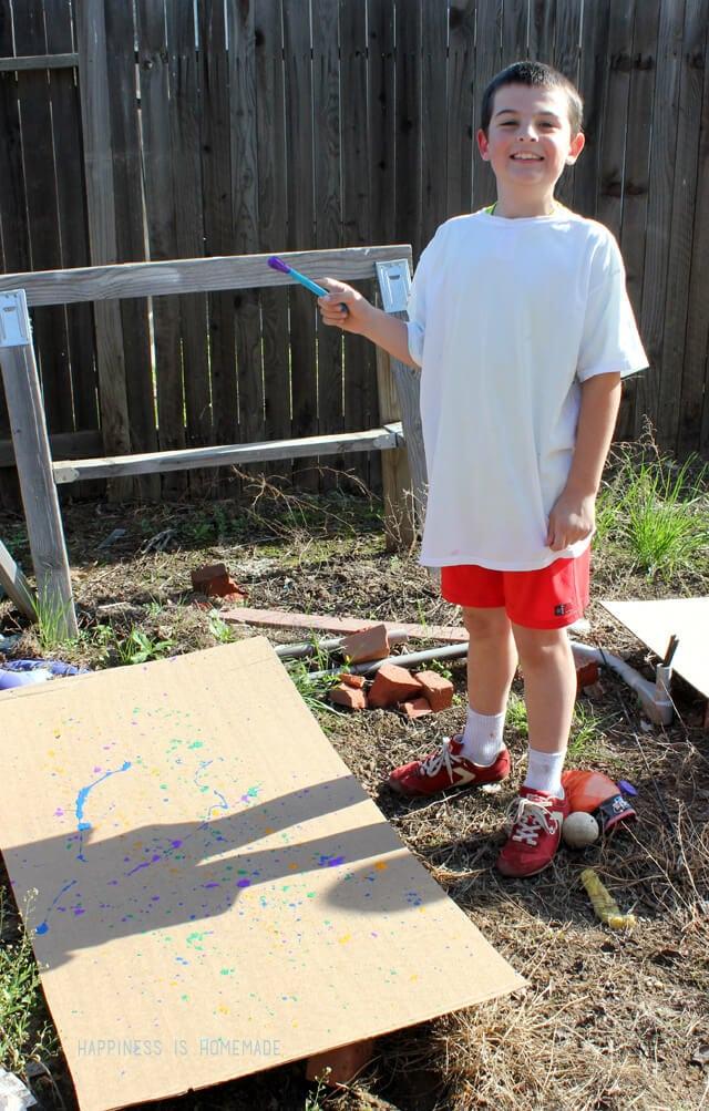 Jackson Pollock Style Kids Painting