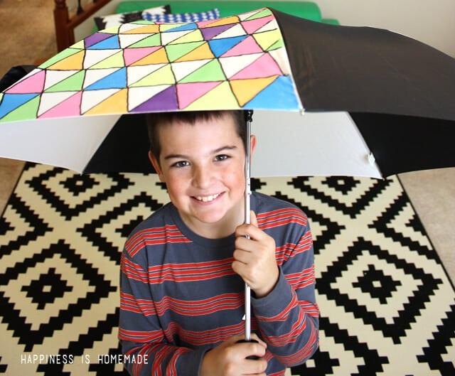 Neon Fabric Painted Umbrella