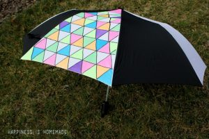 Neon and Geometric Triangle Patterned Umbrella