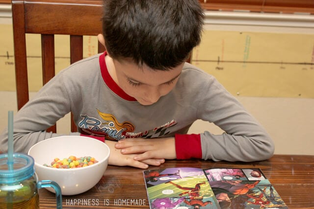 Breakfast Reading with Big G Cereal and Justice League Comics