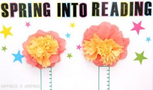 Coffee Filter Flowers on Spring Reading Chart