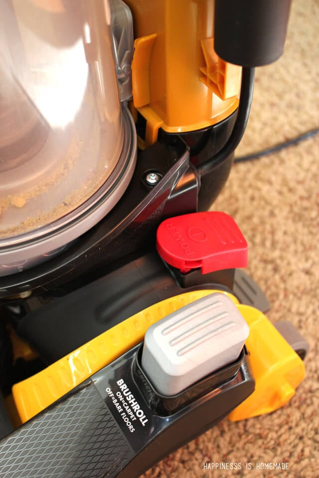 Easy hands free way to turn the brushes off and on for different floor types on the Eureka AirSpeed All Floors