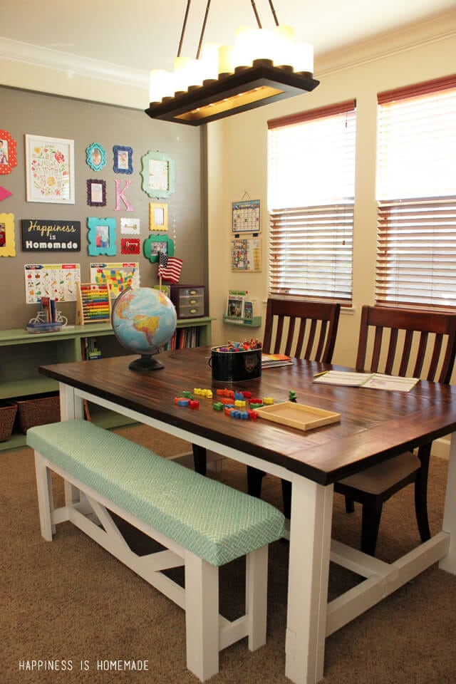 Homeschool Room with DIY Farmhouse Table from Happiness is Homemade