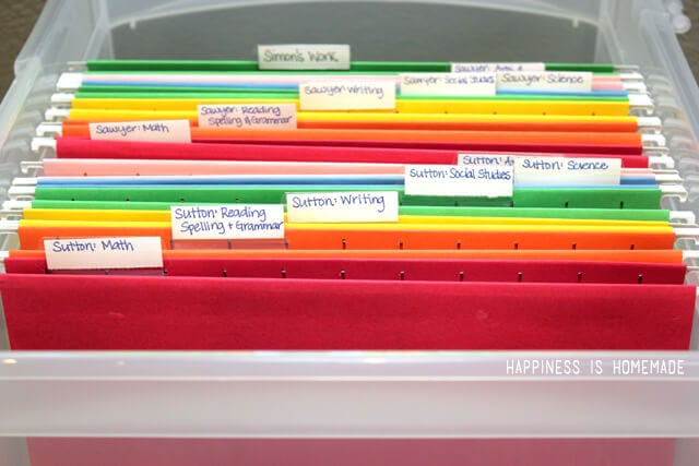 Homeschool School Work Paper Organizer Files