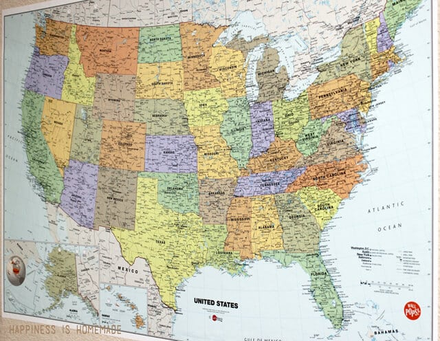 Laminated USA Map