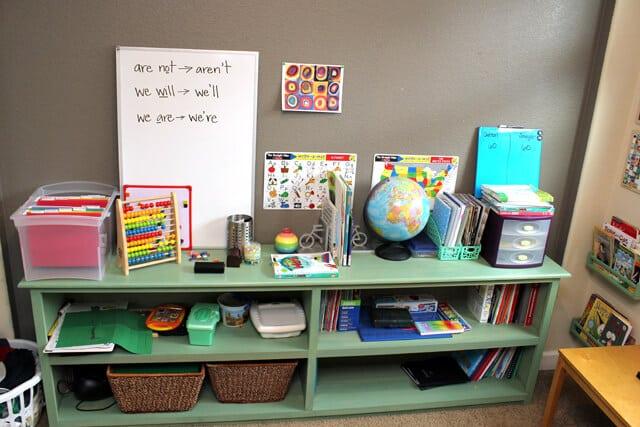 Messy Homeschool Shelves Before Makeover