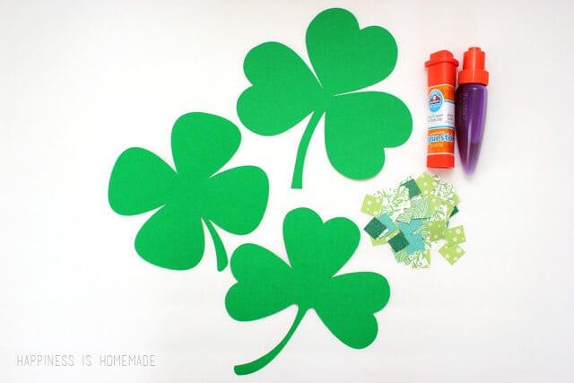 Mosaic Paper Shamrock Kids Craft for St Patricks Day