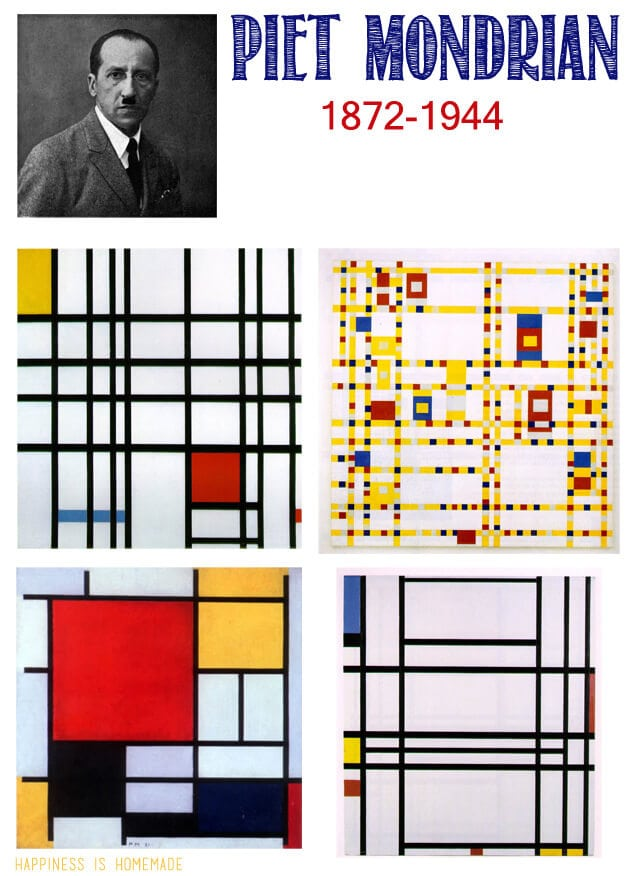 kids homeschool art lesson piet mondrian happiness is homemade. Black Bedroom Furniture Sets. Home Design Ideas