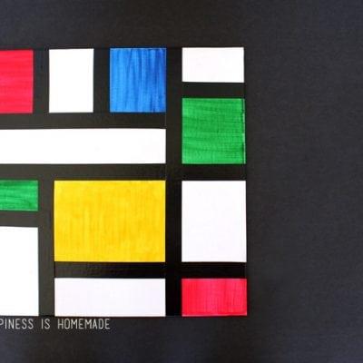 Kids Homeschool Art Lesson: Piet Mondrian