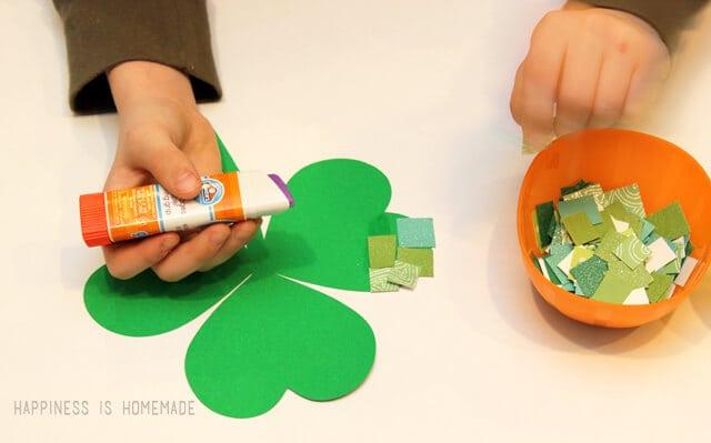 St Patricks Day Kids Craft Paper Mosaic Shamrocks