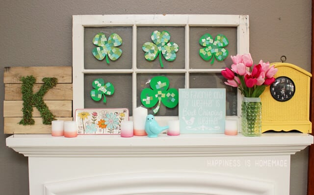St Patricks Day and Spring Mantel Mishmash