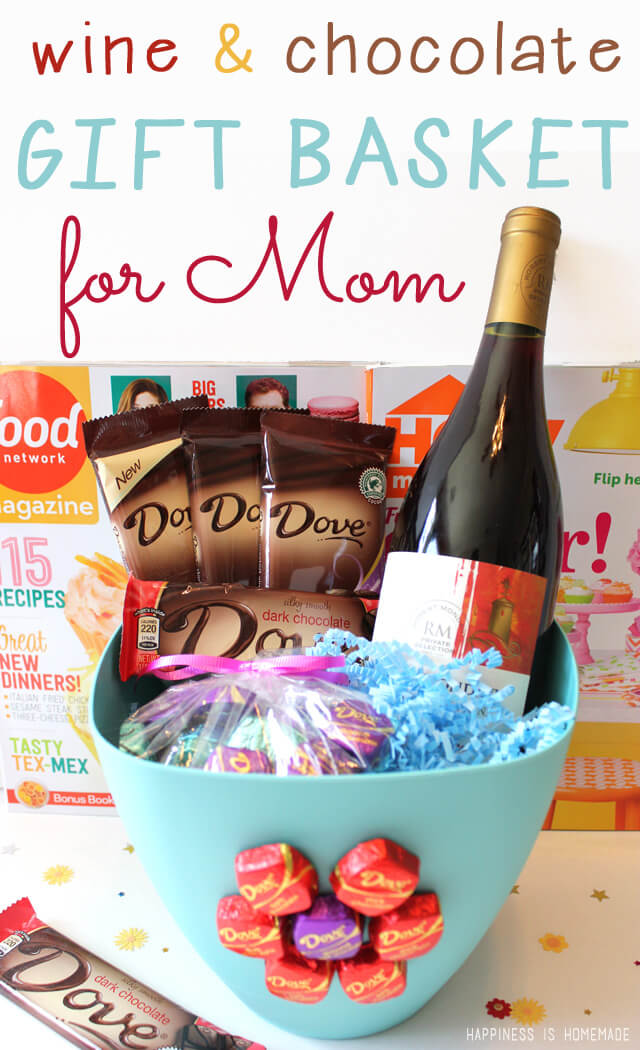 Gifts Ideas For Mothers Day: Mother's Day Wine & Dark Chocolate Gift Basket