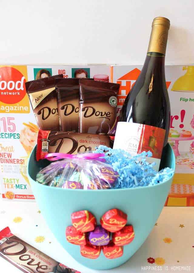 Dove Dark Chocolate and Wine Relaxing Mother's Day Gift Basket