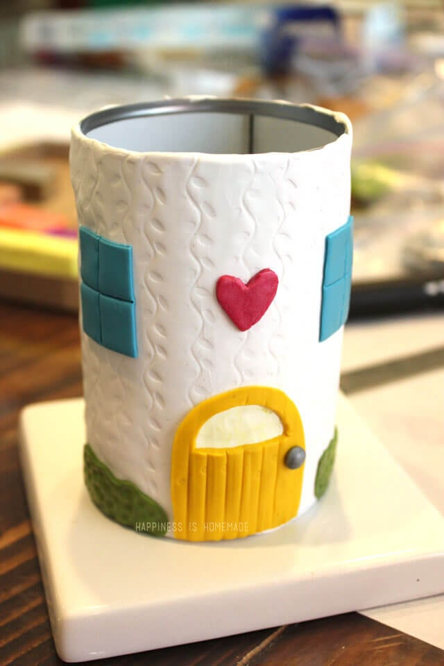 Polymer Clay Fairy Garden House from a Recycled Can