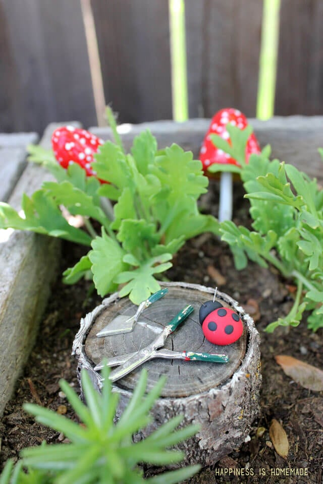 Polymer Clay Ladybug in the Fairy Garden