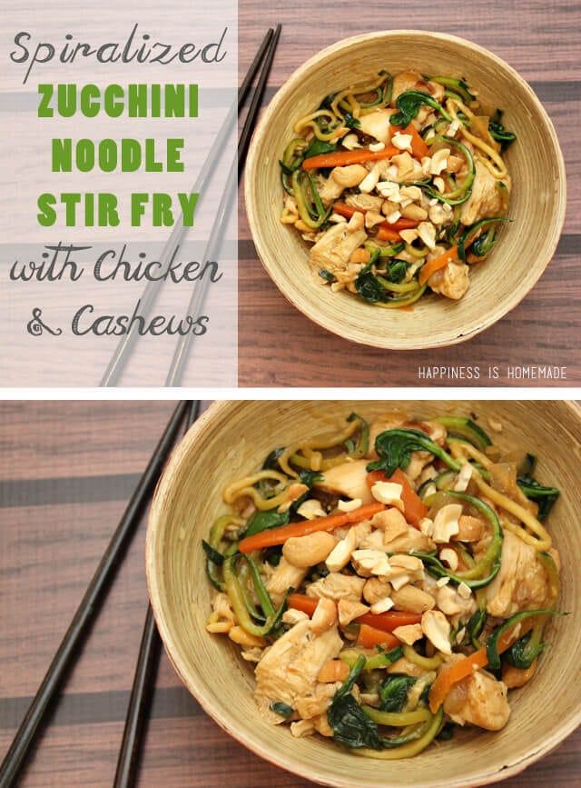 Spirazlied Zucchini Noodle Stir Fry with Chicken and Cashews via Happiness is Homemade