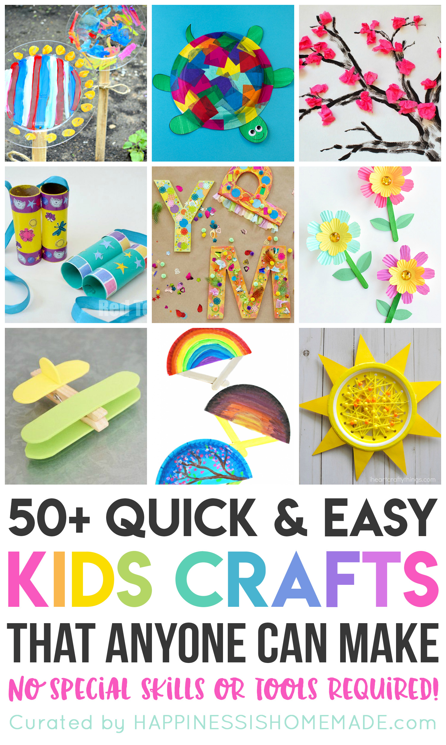 These 50+ quick and easy kids crafts can be made in under 30 minutes using items that you probably already have around the house! No special tools or skills are required, so ANYONE can make these cute crafts for kids! Great fun for the entire family!