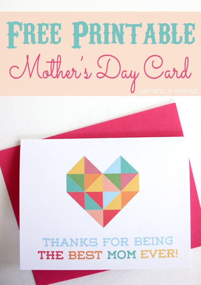 Free Printable Mother's Day Card Geometric Heart