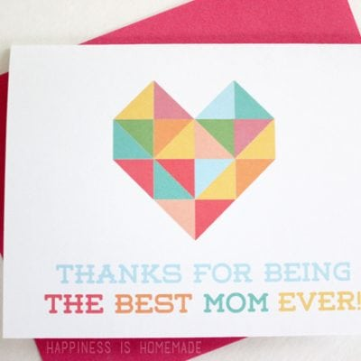 Geometric Heart Printable Mother's & Father's Day Cards