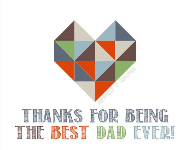Geometric Heart Free Printable Father's Day Card