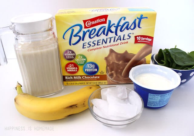 Ingredients for a Healthy Chocolate Breakfast Smoothie