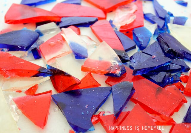 Homemade Red White and Blue Hard Candy