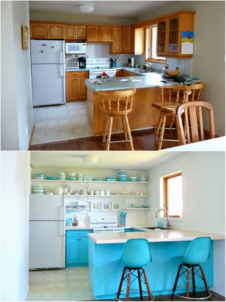 Inexpensive kitchen before and after