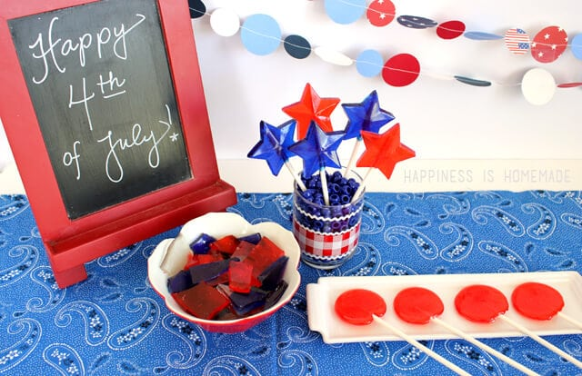 Make Your Own Patriotic Red White and Blue Hard Candy Lollipops