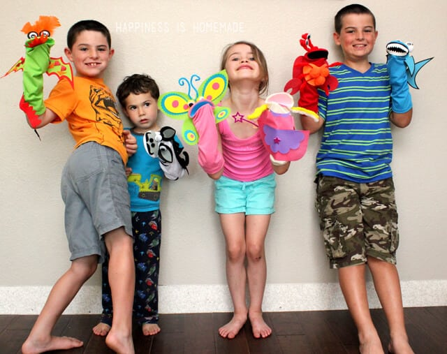 Making Sock Puppets at a Summer Playdate