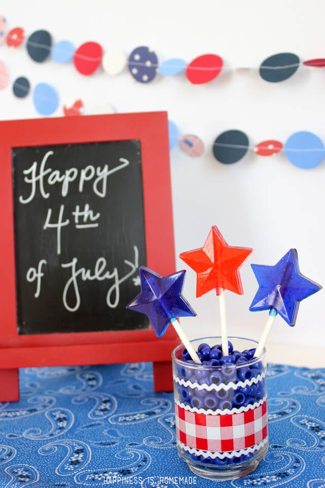 Patriotic Hard Candy Lollipops