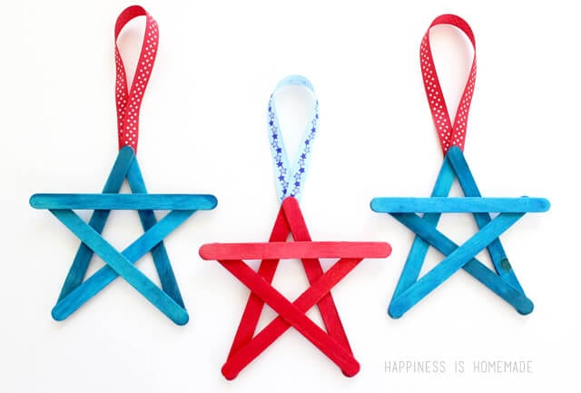 Patriotic Popsicle Stick Star Craft for 4th of July
